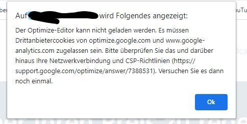 Google Optimize wird blockiert - Borlabs?