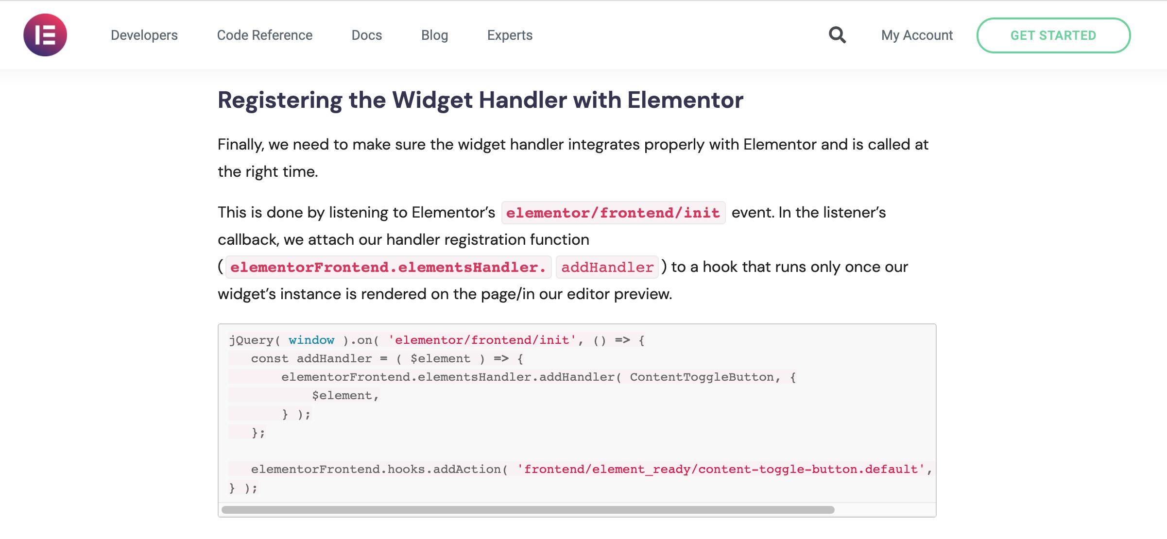 Registering the Widget Handler with Elementor